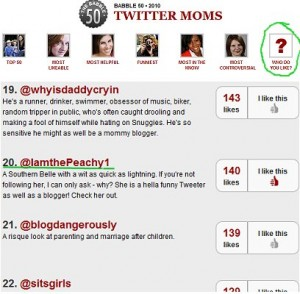 ThePeachy1 ranks 20 in Babbles Top Twitter Moms of 2010 Peoples choice