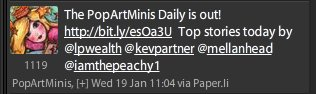 headliner at the pop art minis featured tweeter again