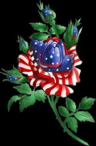 a rose painted to look like american flag