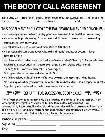 contracts for booty calls