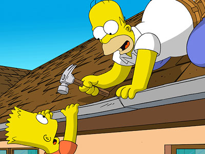 homer simpson hammers barts hand