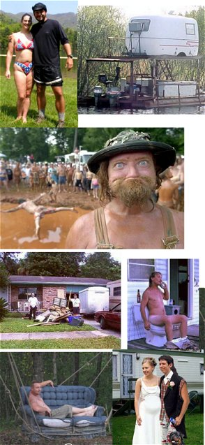 everything redneck. campers, houseboats, weddings, toilets, clutter