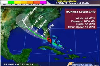 tropical storm bonnie projected path july 2010
