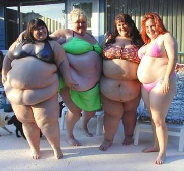 4 very fat women in bikinis showing off