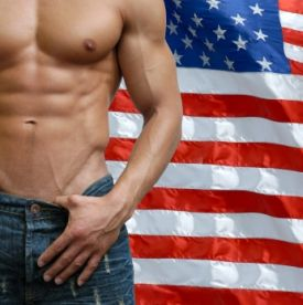 hot guy abs in front of an american flag