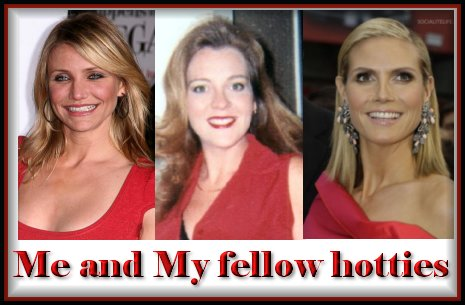 see the similarities, Peachy, Cameron Diaz, Hidi Klum, side by side in red