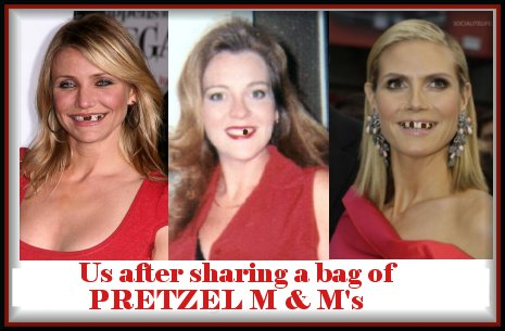 Cameron Diaz, Hidi Klum and me with our teeth missing