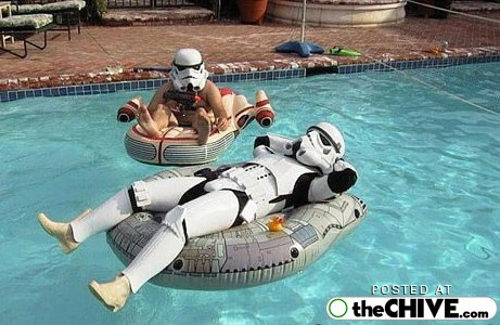 Tropical Storm Troopers in a pool