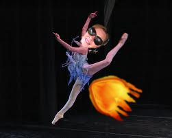 ballet dancer with fire shooting out of crotch