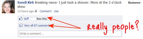 facebook status, fun with facebook friends, longest threads, shower