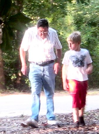 The Prince and his PawPaw take early morning walks