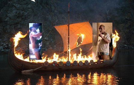viking funeral of star trek captain in speedos via a trebuchet