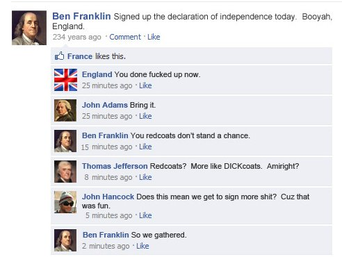 historical events on facebook, the signing of the declaration of independence