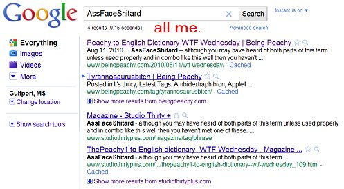 assface shitard  google results, humor blogger, famous, funny, moronic monday