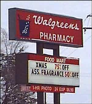 Walgreens sign about ass fragrance for christmas