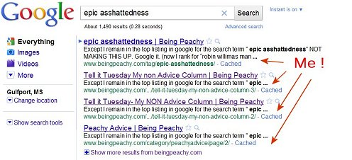 google search for epic asshattedness and I am the entire first page, moronic monday, beingpeachy