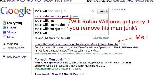 robin williams man junk, google searches, beingpeachy, thepeachy1, do not remove