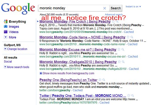 Moronic Monday, being peachy, thepeachy1, google search terms.