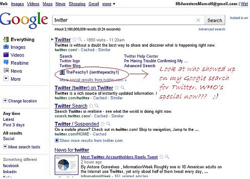 I am number 1 on google search for twitter, being peachy the peachy 1