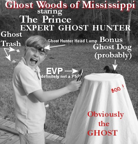 trashy mississippi ghost hunter the prince and a ghost dog, evp, headlamp the works