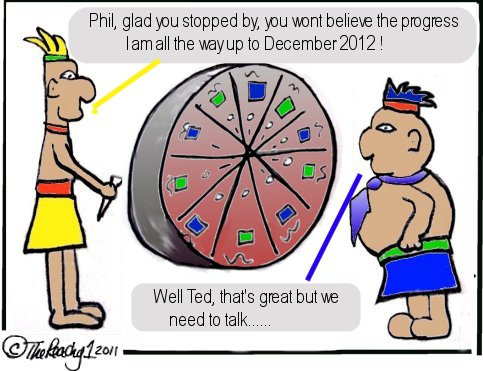 mayan calendar, budget cuts, economy, severance package, ted, phil, being peachy, thepeachy1