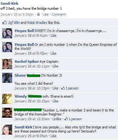 fun with facebook you have the bridge number 1 star trek