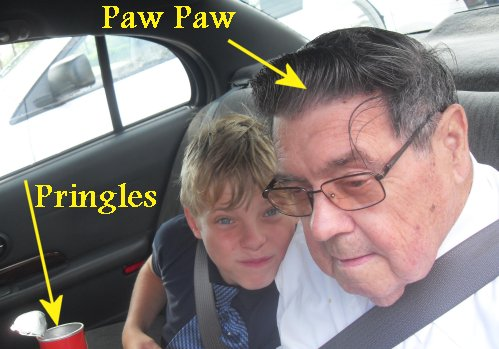 The Prince and his Paw Paw have Pringles.