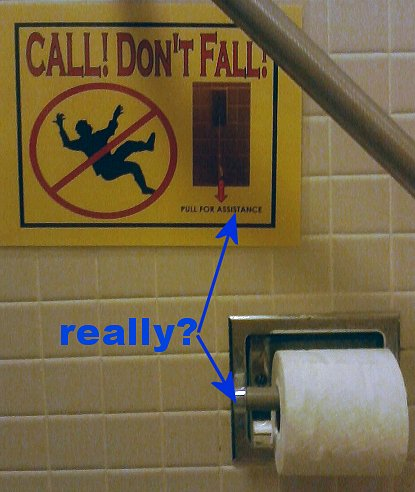 caution don't fall pull toilet paper for assistance.