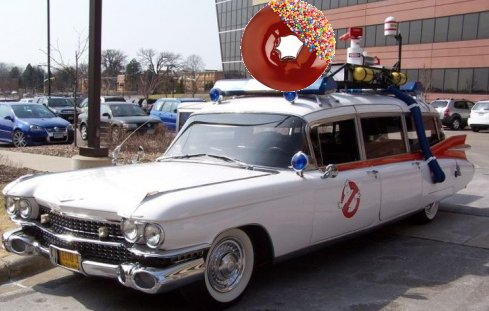 donut emergency vehicle, just like ghost busters but with donuts which makes it more awesome on being peachy with the peachy1